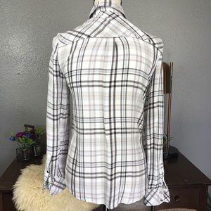White House Black Market Tops - WHBM Plaid flannel button down pocket shirt 2